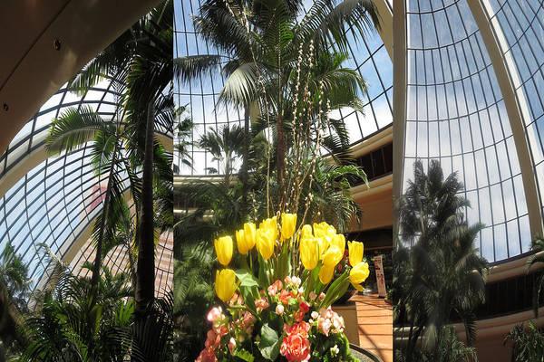 Promotion Mixed Media - Las Vegas Attrium Architecture N Interior Decorations Casinos Resorts Hotels Flowers Sky Green Signa by Navin Joshi