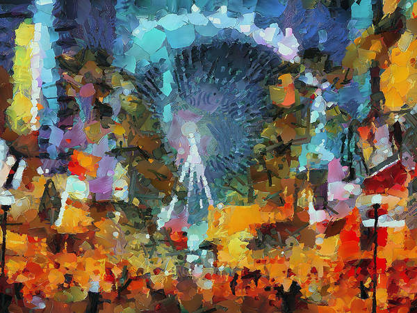 Downtown Las Vegas Digital Art - Las Vegas Big Eye by Yury Malkov