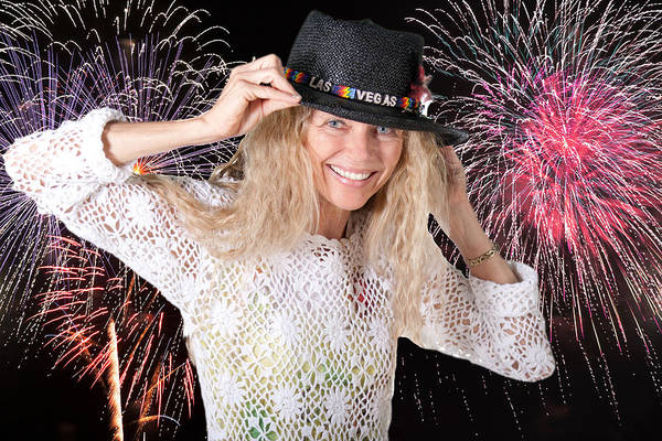 Photograph - Las Vegas Fireworks Party Woman by Gunter Nezhoda