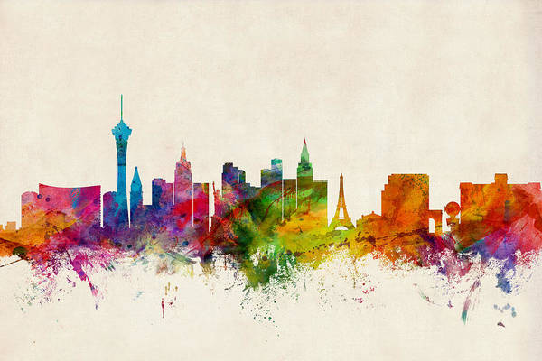Wall Art - Digital Art - Las Vegas Nevada Skyline by Michael Tompsett