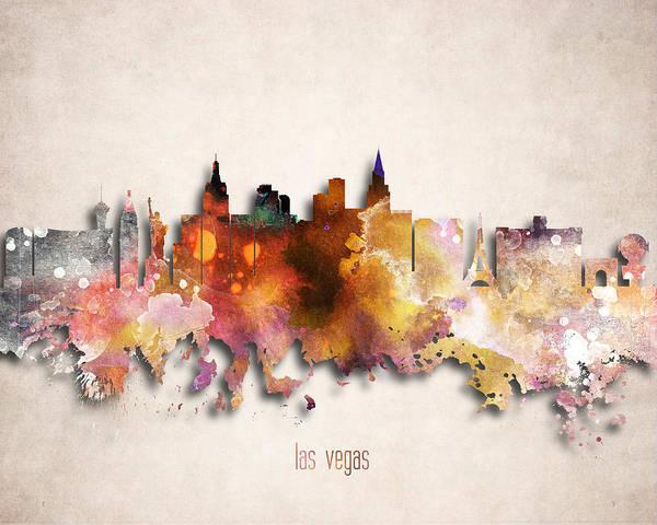 Downtown Las Vegas Digital Art - Las Vegas Painted City Skyline by World Art Prints And Designs