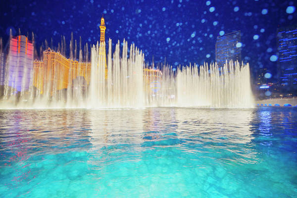 Bellagio Hotel Photograph - Las Vegas Skyline And Bellagio Fountains by Mitchell Funk