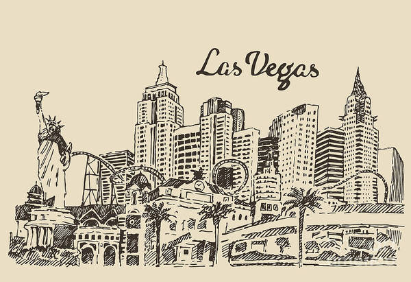 Wall Art - Digital Art - Las Vegas Skyline, Big City by Grop