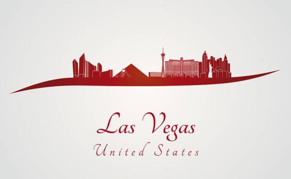 Downtown Las Vegas Digital Art - Las Vegas Skyline In Red by Pablo Romero