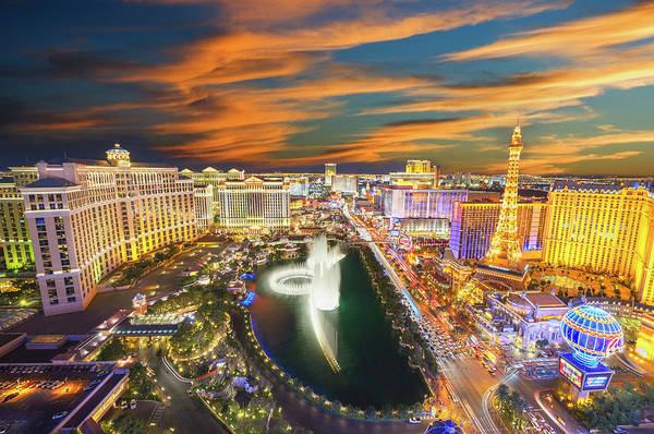 Bellagio Hotel Photograph - Las Vegas Skyline With Dramatic Sky by Mitchell Funk