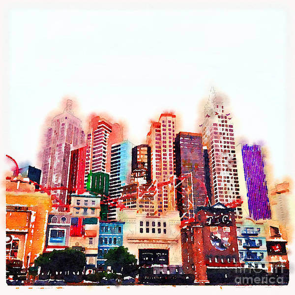 Wall Art - Photograph - Las Vegas Watercolour by Jane Rix
