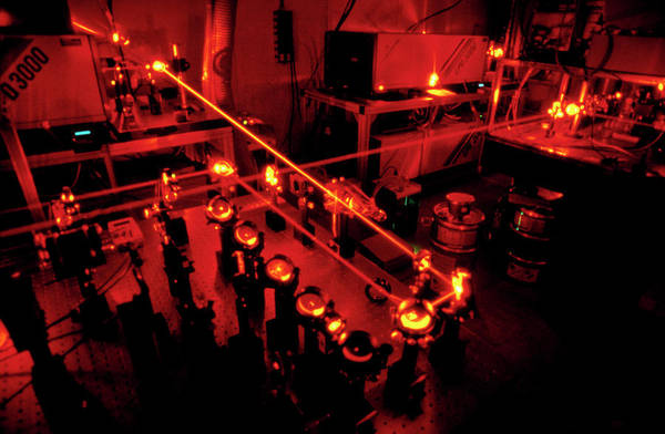 Laser Photograph - Laser Equipment Used In Antimatter Research by Cern/science Photo Library