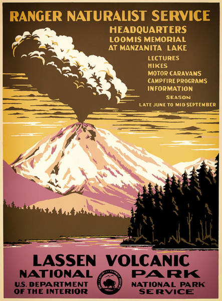 Outdoors Mixed Media - Lassen Volcanic National Park Travel Poster 1938 by Mountain Dreams