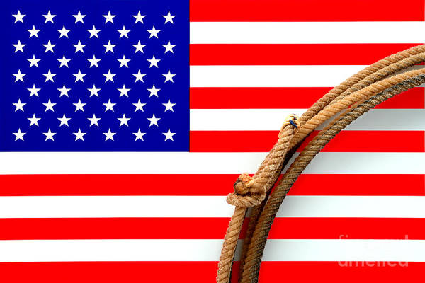 Photograph - Lasso And American Flag by Olivier Le Queinec