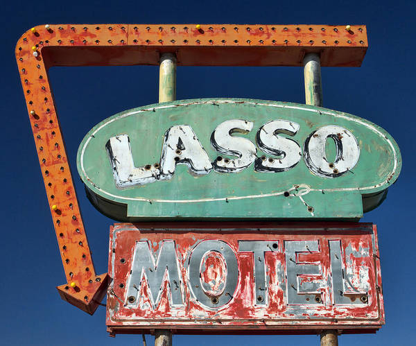Route Photograph - Lasso Motel Sign On Route 66 by Carol Leigh