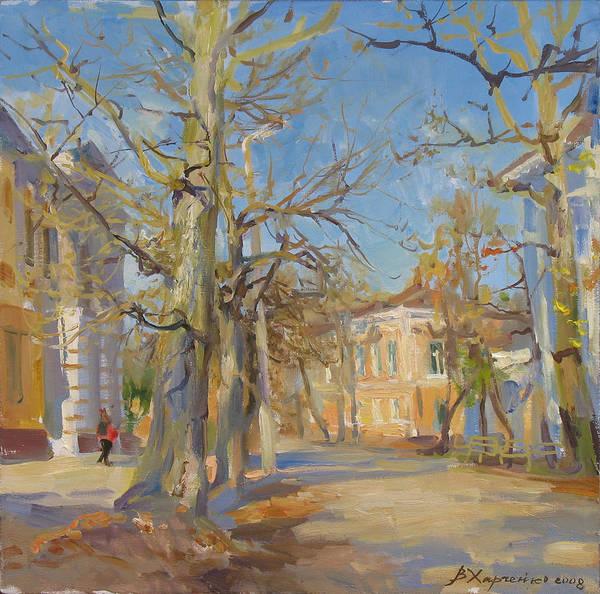 City Landscape Wall Art - Painting - Last Autumn Day by Victoria Kharchenko