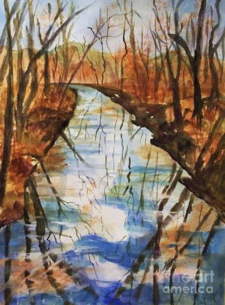 Upstate New York Painting - Last Days Of Autumn - Creek Reflections by Ellen Levinson