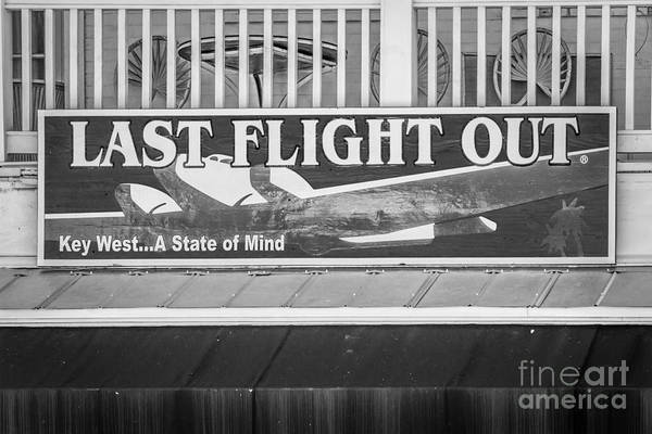 Excess Photograph - Last Flight Out A Key West State Of Mind - Black And White by Ian Monk