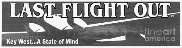 Excess Photograph - Last Flight Out A Key West State Of Mind - Black And White - Pan by Ian Monk