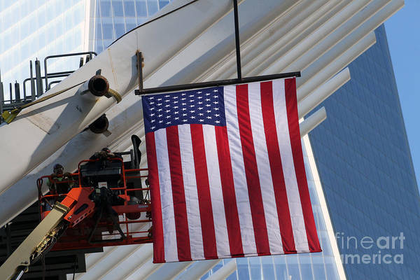 Photograph - Last Large Wtc Oculus Rafter Raised Number Six by Steven Spak