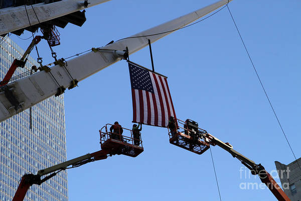 Photograph - Last Large Wtc Oculus Rafter Raised Two by Steven Spak