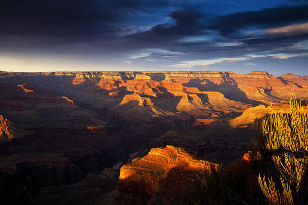 South Rim Photograph - Last Light In The Grand Canyon by Andrew Soundarajan