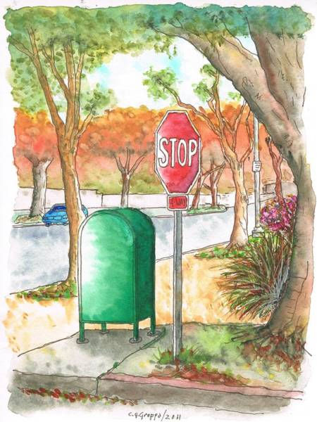 Acuarela Painting - Last Mailbox In Beverly Hills - California by Carlos G Groppa