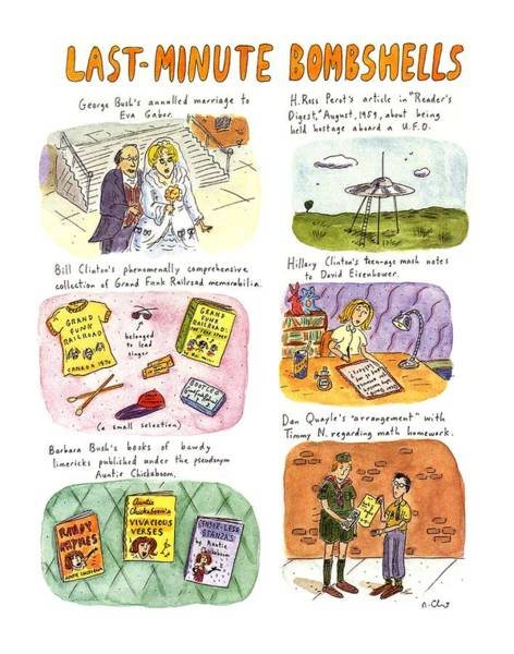 Bush Drawing - Last-minute Bombshells by Roz Chast