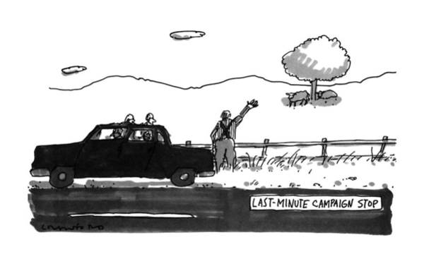 Campaign Drawing - Last-minute Campaign Stop by Michael Crawford