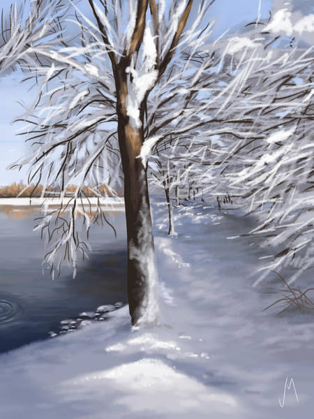 Snowscape Painting - Last Snow Series N2 by Veronica Minozzi