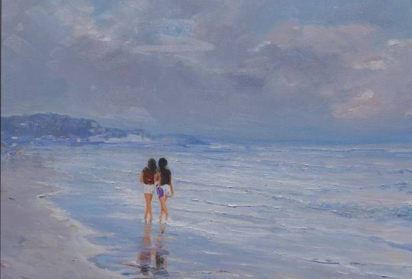 Painting - Late Afternoon In The Beach by Sefedin Stafa