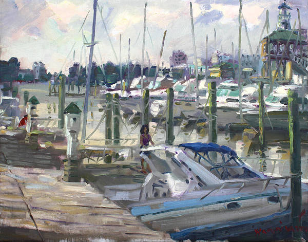 Norfolk Wall Art - Painting - Late Afternoon In Virginia Harbor by Ylli Haruni
