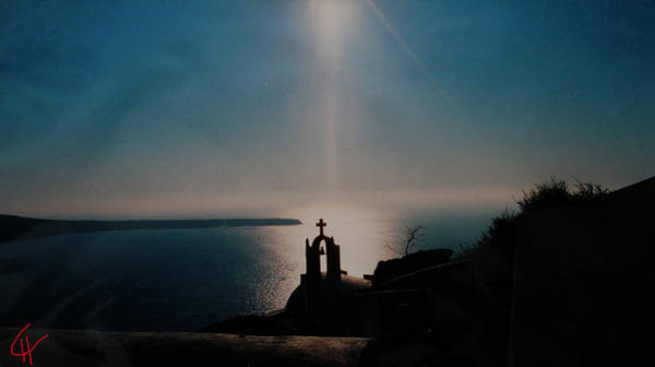 Late Evening Meditation On Santorini Island Greece Art Print