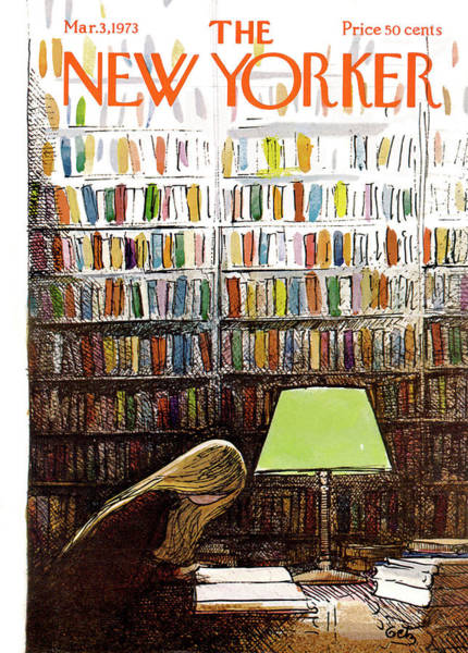 Wall Art - Painting - Late Night At The Library by Arthur Getz