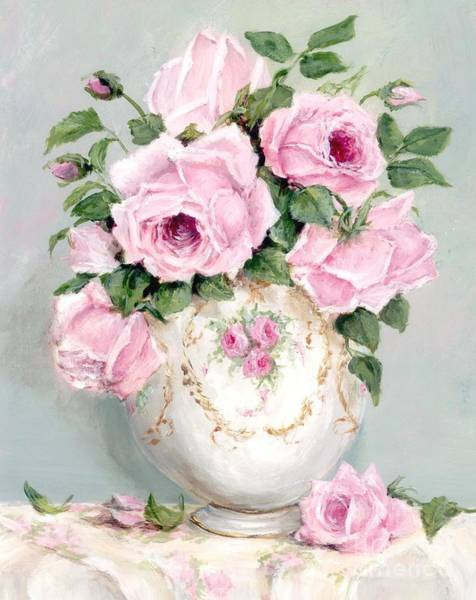 Shabby Chic Roses Wall Art - Painting - Late Summer Roses by Gail McCormack