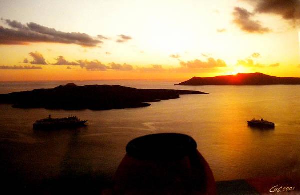 Late Sunset Santorini  Island Greece Art Print