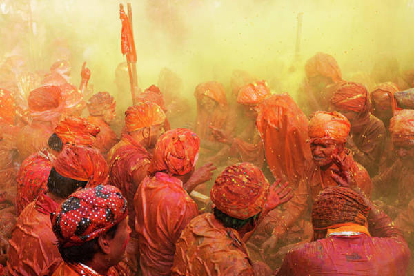Celebrate Wall Art - Photograph - Lathmar Holi by Francesco Vaninetti