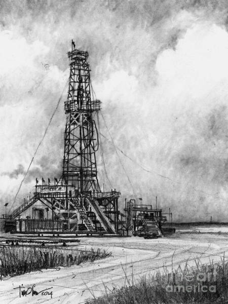 Oil Drawing - Latshaw Rig #8 by Tim Oliver