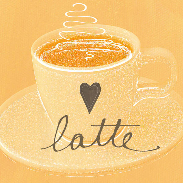 Milk Painting - Latte Love In Orange And White by Linda Woods