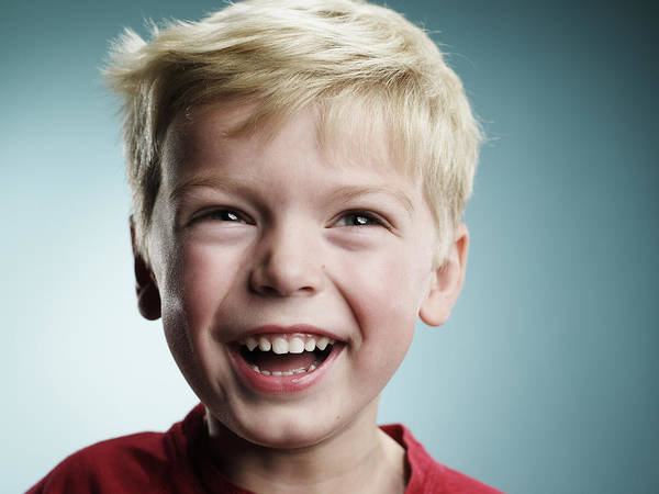Laughing 4 Year Old Boy Art Print by Ryan McVay