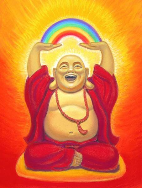Buddhism Wall Art - Pastel - Laughing Rainbow Buddha by Sue Halstenberg