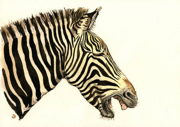 Zebra Painting - Laughing Zebra by Juan  Bosco