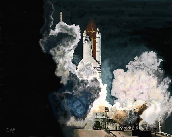 Space Shuttle Painting - Launch In The Dark by Timothy Wall