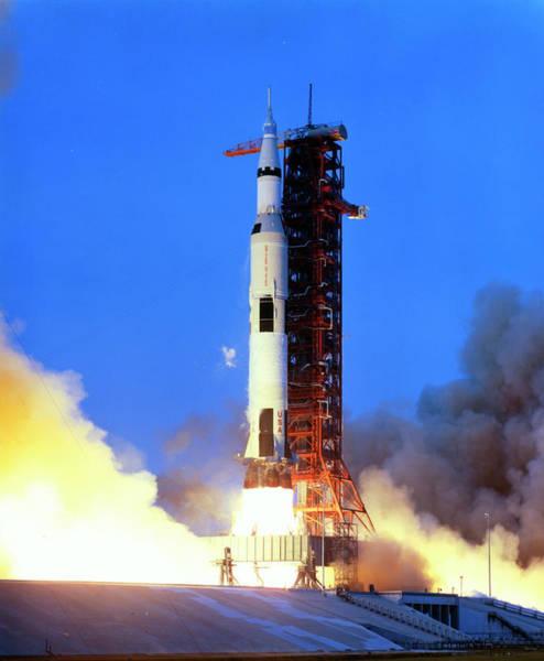 Wall Art - Photograph - Launch Of Apollo 13 Atop A Saturn V Rocket by Nasa/science Photo Library