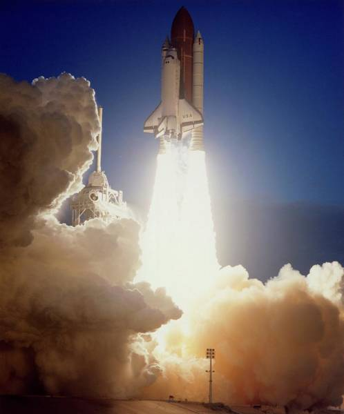Space Shuttle Photograph - Launch Of Shuttle Columbia On Sts-32 by Nasa/science Photo Library