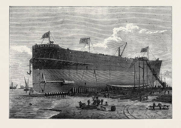 Wall Art - Drawing - Launch Of The Faraday Telegraph Cable Ship 1874 by English School