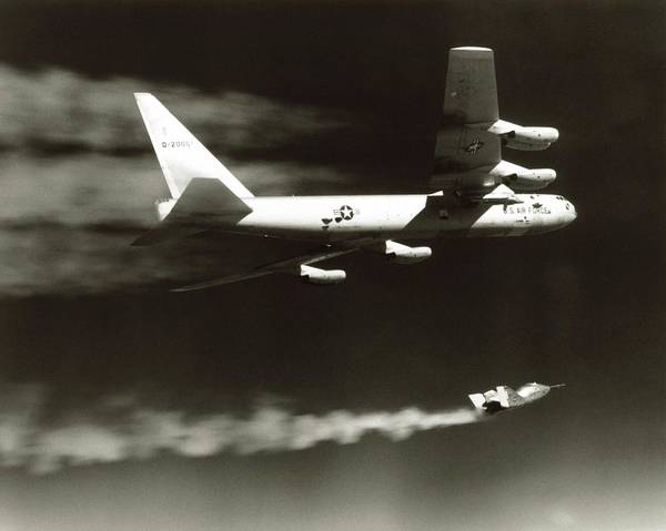 Lifting Photograph - Launch Of X-24a Lifting Body From B-52 by Nasa/science Photo Library