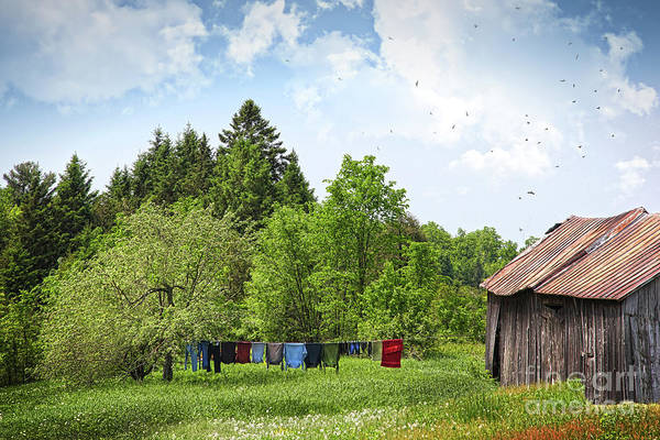 Wall Art - Photograph - Laundry Drying On Clothesline On A Summer Day by Sandra Cunningham