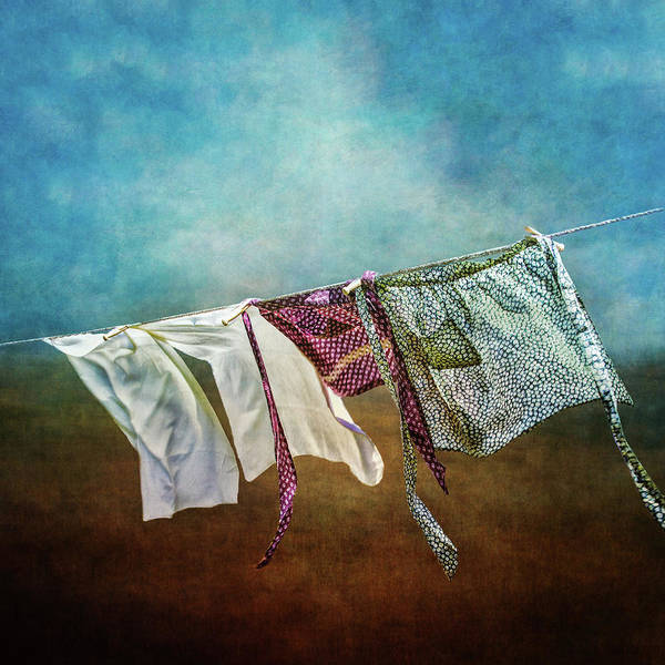 Clothesline Photograph - Laundry Drying On The Clothesline by Melinda Moore