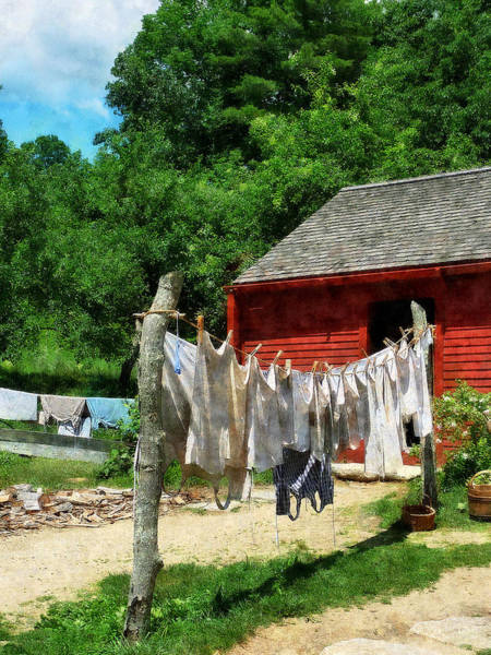 Photograph - Laundry Hanging On Line by Susan Savad