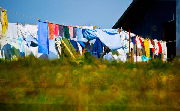 Clothesline Photograph - Laundry Hanging On The Line To Dry by Panoramic Images