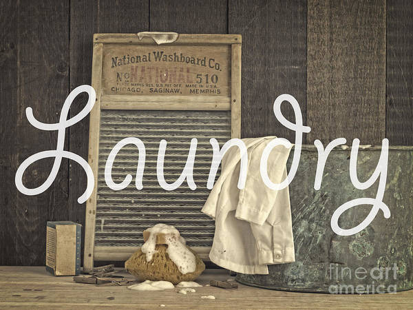 Dirty Laundry Photograph - Laundry Room Sign by Edward Fielding