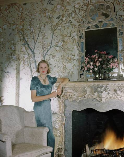 Dine Photograph - Laura Elizabeth Curtis By A Fireplace by Horst P. Horst