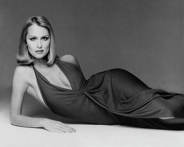 Photograph - Laura Hutton Wearing A Halston Dress by Francesco Scavullo