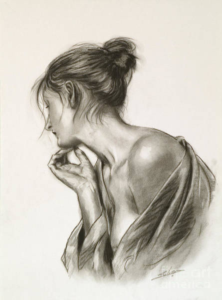 Drawing - Laura In Deep Thought by John Silver